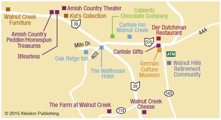 ohio amish country map berlin walnut creek millersburg