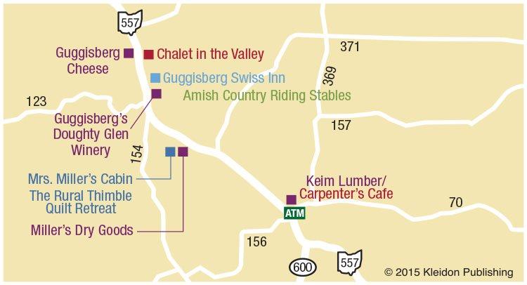 Ohio Amish Country Map Berlin Walnut Creek Millersburg